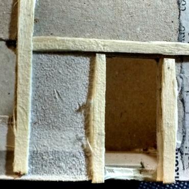 Detalle del enfoscado realizado con pintura espesa y un trocito de esponja